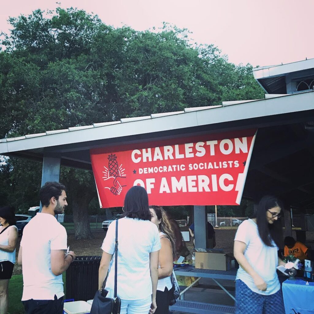 Charleston DSA co-sponsored the July 2019 Lights for Liberty rally in North Charleston, which was part of a nationwide vigil against immigrant detention camps.